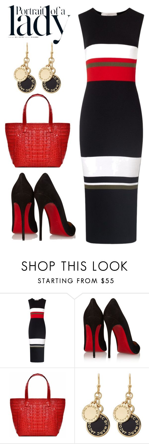 Red-Black-Gold by kim-mcculley ❤ liked on Polyvore featuring moda, Preen, Christian Louboutin, IKI, Marc by Marc Jacobs e Inez Vinoodh