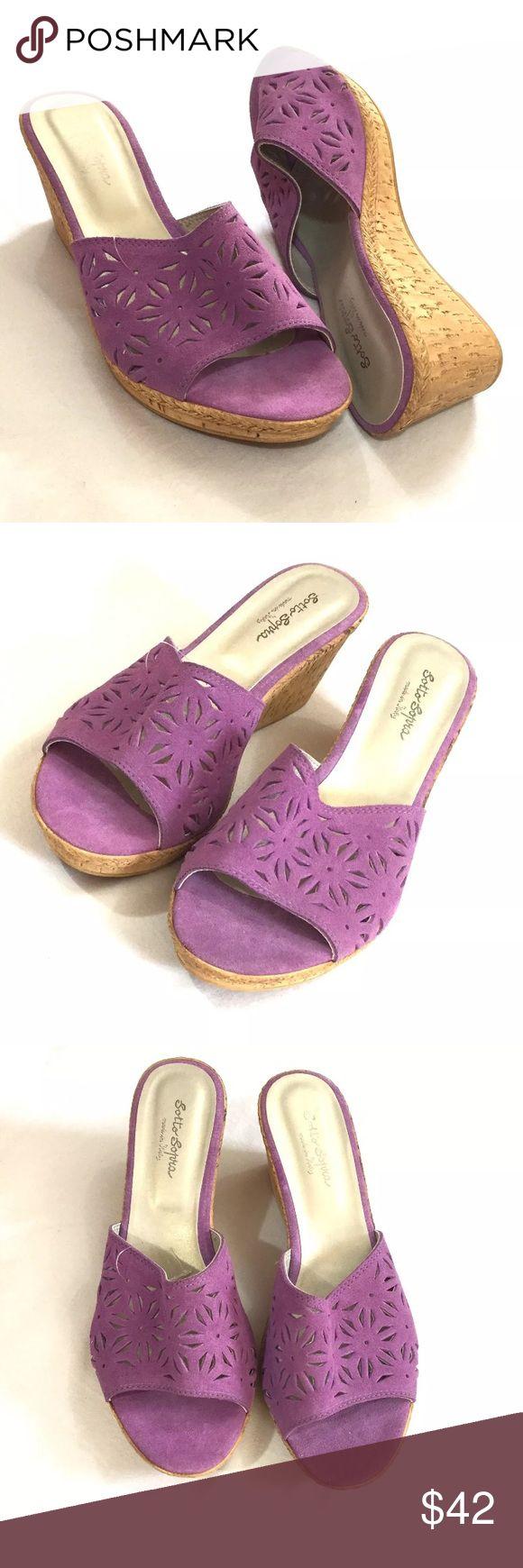 "Sotto Sopra Wedge Sandals Size 11 Purple Laser Cut Sotto Sopra purple laser cut suede uppers on a 3"" cork wedge bottom. Never worn. Sotto Sopra Shoes Wedges"