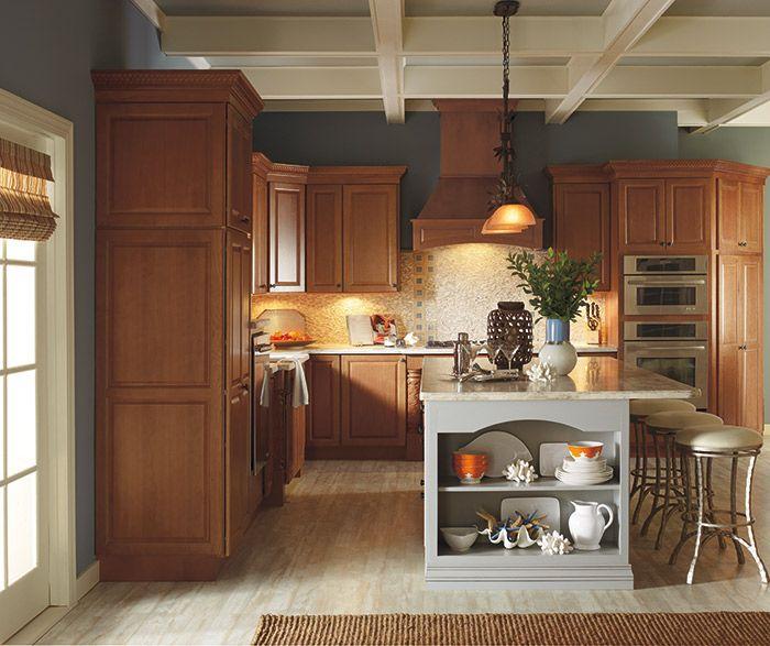 This Traditional Kitchen Design Has A Beautiful Range Hood That Draws The Eye T Semi Custom Kitchen Cabinets Kitchen Projects Design Traditional Kitchen Design