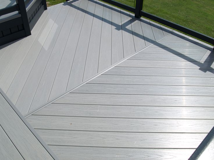 Beautiful Fensys 100% polymer slip resistant premium excel driftwood deck board fitted herringbone style