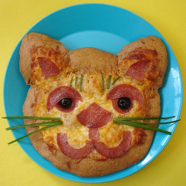 Brown Tiger Pizza from Pizza Fun by Judy Bastyra #cat #food #cute #kids #cooking