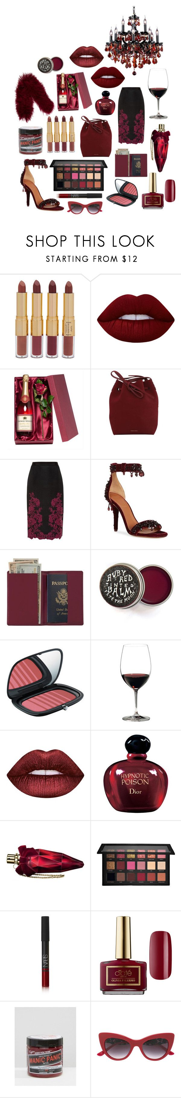 """""""Untitled #250"""" by wittethefox ❤ liked on Polyvore featuring tarte, Lime Crime, Mansur Gavriel, Ted Baker, Givenchy, Royce Leather, Marc Jacobs, Riedel, Christian Dior and Dita Von Teese"""
