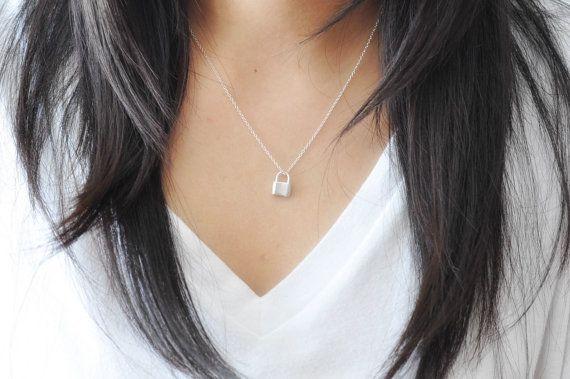 Padlock Necklace in Sterling Silver 925 Sterling Silver Lock