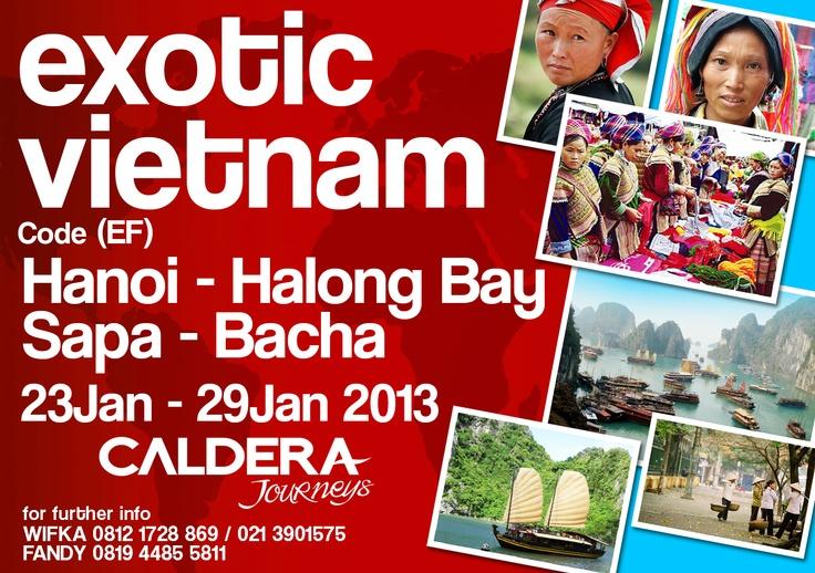 Exotic Vietnam( Hanoi - Halong Bay - Sapa - Bacha ) 23 Jan - 29 Jan2013 Price   Rp. 4,250,000    Harga termasuk :  • Tiket pesawat   • Accommodation based on dormitori or triple sharing    • Seluruh transportasi darat dari satu kota ke kota lainnya  • Tour leader  • Airport tax    Harga tidak termasuk:  • Entrance fee & kegiatan di tiap kota   • Meals   • Personal expenses     wifka@calderaindonesia.com fandi@calderaindonesia.com  t:(021) 390 1575  (Wifka)(Fandi)
