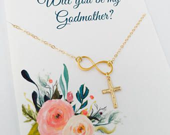 Godmother Necklace, Will you be my Godmother, Godmother gift, Gold Godmother Necklace, Godmother Jewelry