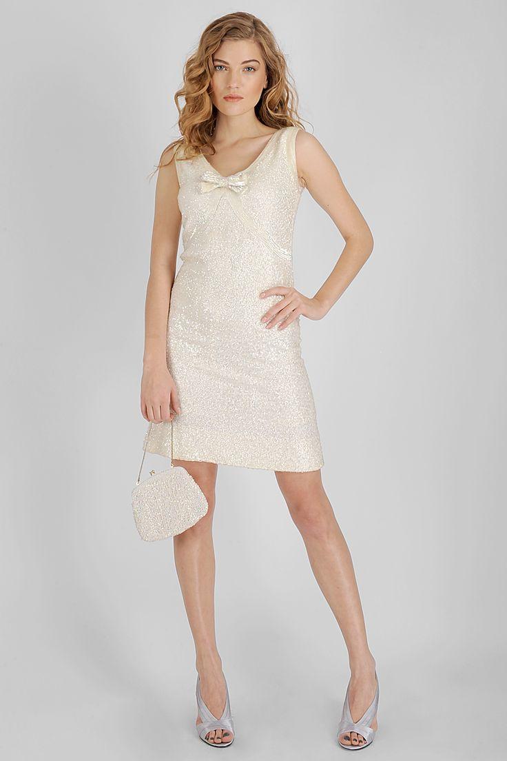 80′ler Krem Tamamı Pullu V yaka Vintage Elbise | AU Vintage