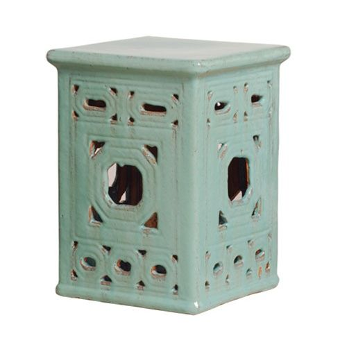 Captivating Blue Square Garden Stool With Lattice Pattern. Free Shipping.