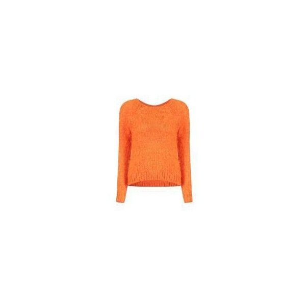 Yoins Fluffy Jumper in Orange (£20) ❤ liked on Polyvore featuring tops, sweaters, orange top, orange jumper, orange sweater, jumpers sweaters and jumper tops