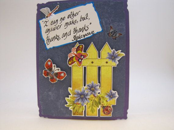 Thank you card; beautiful butterflies on a blue and purple card with a yellow fence and flowers