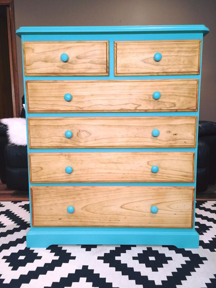 Modern pine tall boy in turquoise (custom mix of Annie Sloan Florence and old white). The drawers fronts were sanded back and treated with Miss Mustard Seed hemp oil.