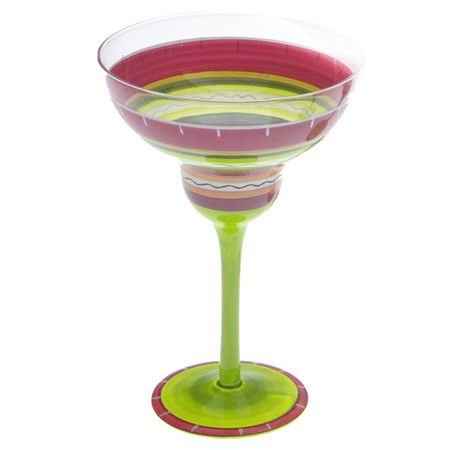 Enjoy a refreshing cocktail with this stylish margarita glass, hand-painted with a Southwestern stripe motif.   Product: Set of 4 ma...