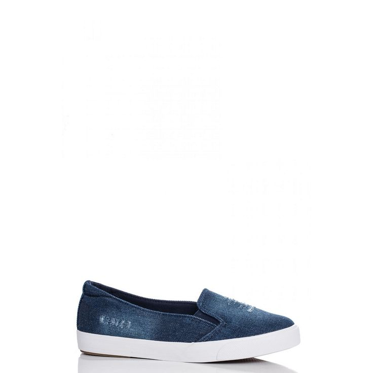 These trainers have a denim fabric outer. With ripped detailing, sport a casual look by pairing with skinny jeans and batwing top.