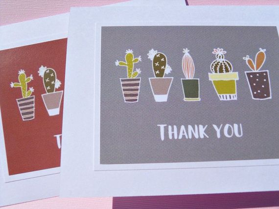 Thank You Cards  Cactus Note cards  Succulent Cards  Garden