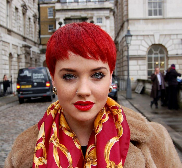 go shorter...she's darling and shout out for the red lips and scarf!!!<3