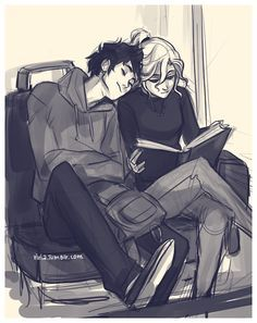 I just love this. I can just see them in the future, when they're in college, Percy curling up next to Annabeth like he's a cat, even though she's trying to study. And her trying to act annoyed and indignant but really loving it.