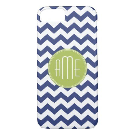 Navy Blue and Lime Green Chevron Pattern iPhone 8/7 Case #chevron #iphone #cases #protectiion