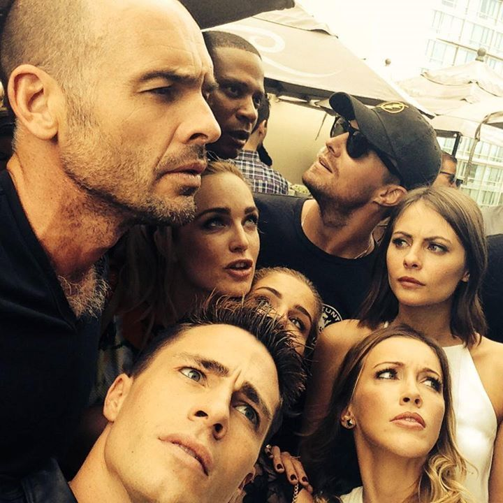 Cast of Arrow I'm Emily Bett when I'm with friends... and well, with anybody.