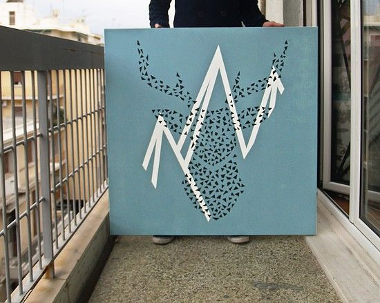 Dedicated to the beloved season   Tape art on canvas   size : 1x1 m
