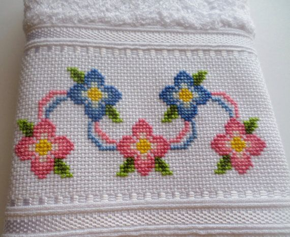 Cross Stitch cinta de flores dedo toalla