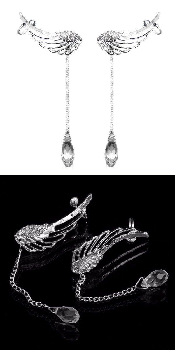 Angel wings crystal drop ear clips rhinestone women earrings 6 inch earrings #earrings #16 #gauge #earrings #claires #earrings #wiki #gta #v #earrings