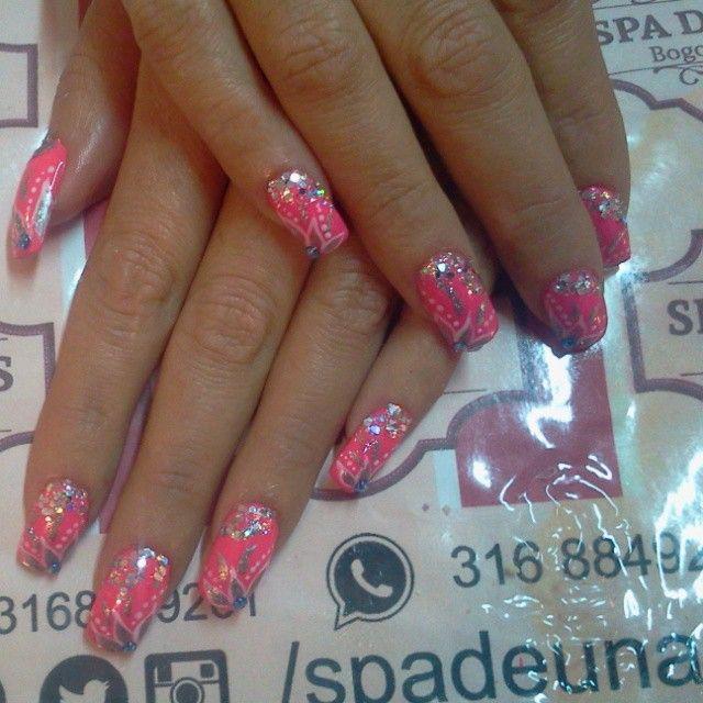 nail acrylic design pink, uñas acrilicas fucsia