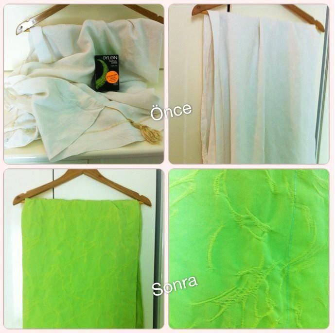 Bizden ,DYLON - Tropical Green fabric dye ..kumaş boyası alan müşterimizin gönderisi olan boyamadır.Teşekkür ederiz bizimle paylaştığınız için Aylin Hanım..yeni rengiyle güle güle kullanın masaörtünüzü.. http://www.gagva.com.tr/Tropical-Green-Tropical-Green-Fabric-Dye,PR-899.html