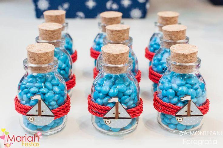 Garrafinhas decoradas tema marinheiro | Festa infantil | Festa marinheiro | Decoração by Mariah festas