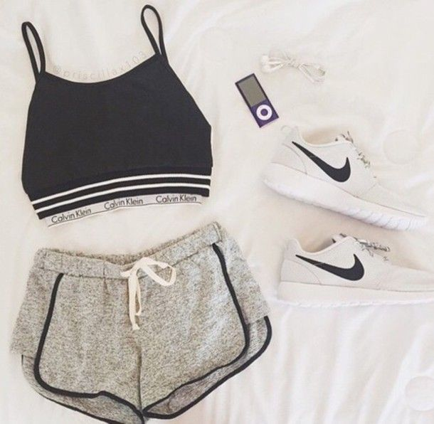 shorts black nike sportswear top shoes shirt. I could wear this for hip hop