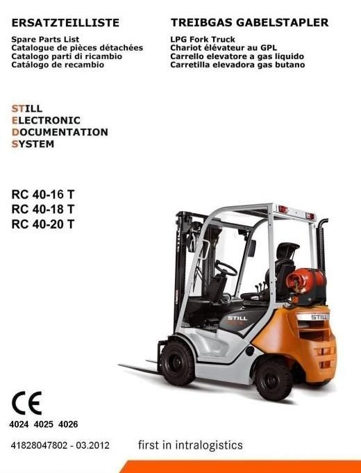 Original Illustrated Factory Parts Manual for Still LPG Forklift Truck RC40-16T, RC40-18T, RC40-20T.Original factory manuals for Still Forklift Trucks, contains high quality images, circuit diagrams and instructions to help you to operate and repair your truck. All Manuals Printable and contains Sea