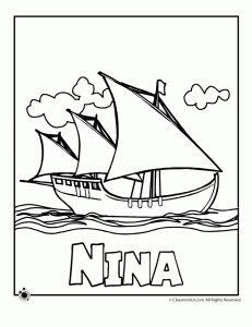 nina columbus coloring page 231x300 Columbus Day Coloring Pages
