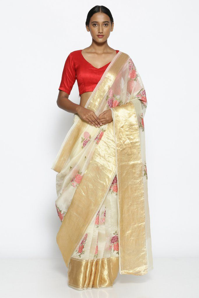af03e7050f Off-White Pure Sheer Silk-Organza Saree with All Over Floral Embroidery ₹  17999
