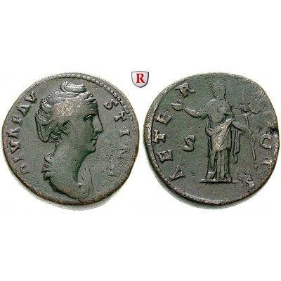 Römische Kaiserzeit, Faustina I., Frau des Antoninus Pius, Sesterz nach 141, ss: Faustina I., Frau des Antoninus Pius +141.… #coins