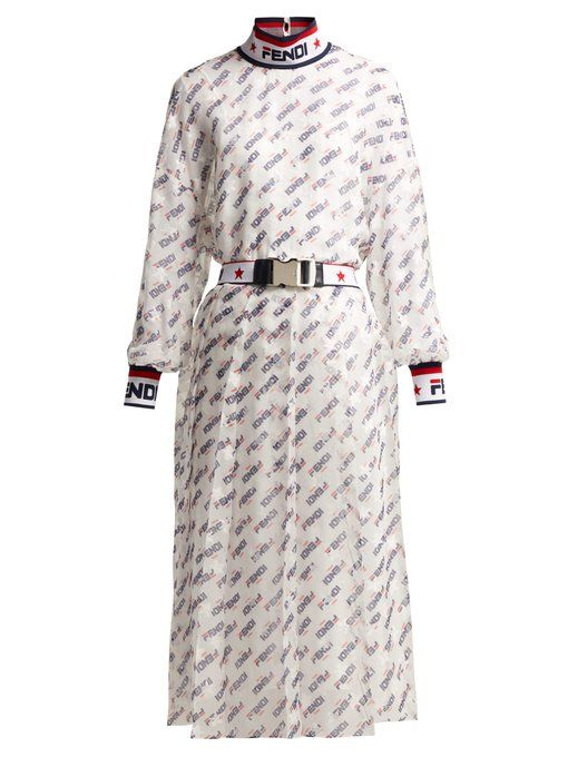 68f1b71293bf Fendi Mania logo-print silk-blend georgette dress