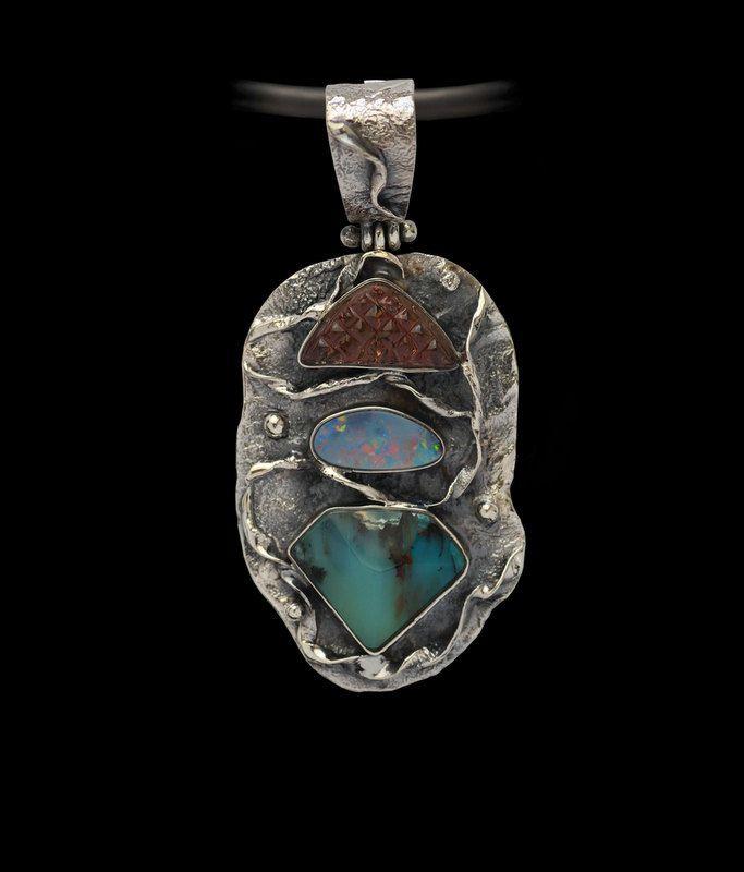 PERUVIAN BLUE OPAL Handcrafted Pendant, Watermelon Tourmaline, Australian Opal, Gemstone Pendant, Artisan Pendant, 925 Sterling Silver by AlenaZenaJewelry on Etsy