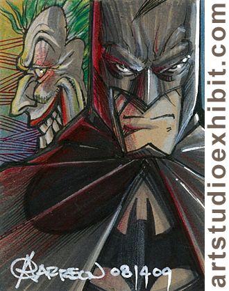 BATMAN and JOKER Sketch Card by artstudio