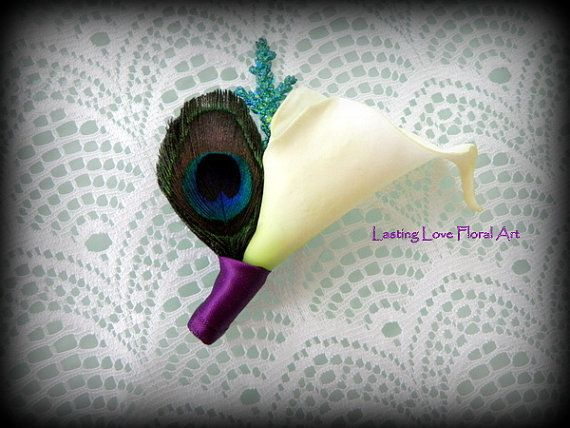 Calla Lily Peacock Feather Boutonniere by LastingLoveFloralArt