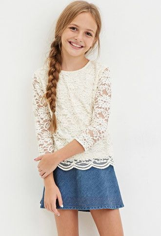 Girls Floral Lace Top (Kids) | Forever 21 girls - 2000145375