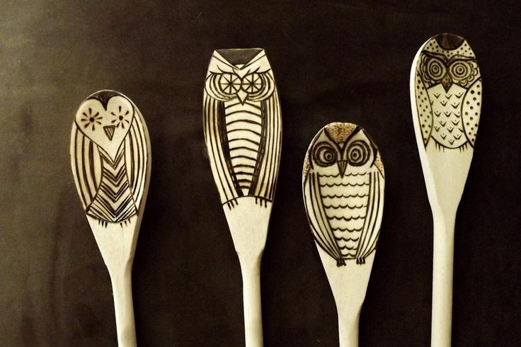 Wood burned owl spoons