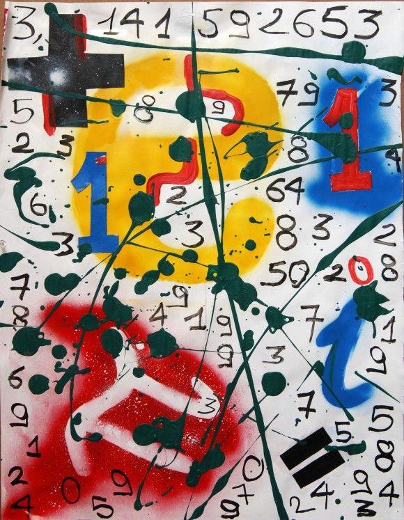 Imagen 1 (Pie de imagen: Opera, Ugo Nespolo, en la que aparece el número pi, que es un número irracional, con infinitos dígitos en su desarrollo decimal, para los que no existe un período finito que se repite)