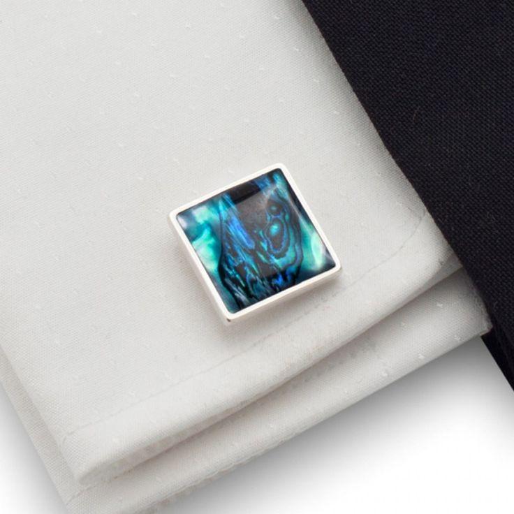 Ślubne spinki do mankietów | Niebieskie spinki do mankietów | srebro 925 | Muszla paua | ZD.22