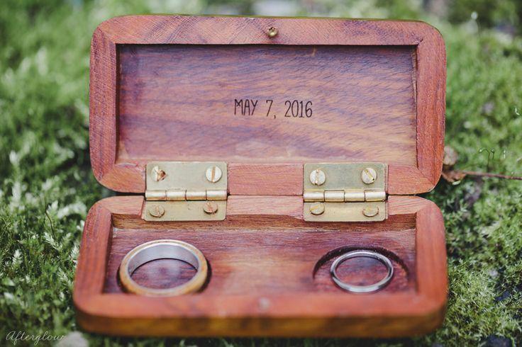 Detail photo of the rings in custom wood box