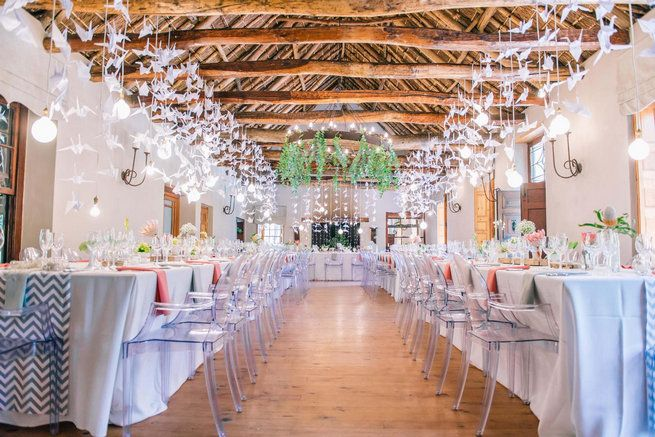 1000 paper cranes // Langkloof Roses Wedding, Cape Town - Claire Thomson Photography