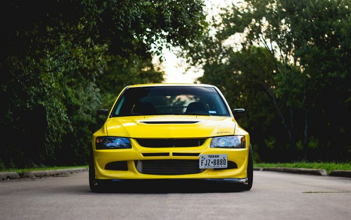 Download wallpapers Mitsubishi Lancer Evolution VIII, JDM, tuning, yellow Lancer, japanese cars, Mitsubishi