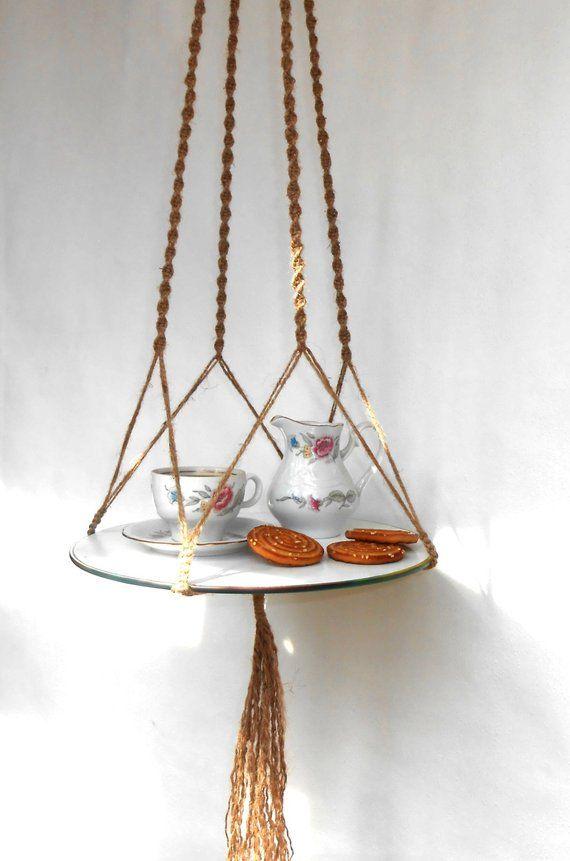 Macrame Hanging Table, Hanging Shelf 47 inch, Plant hanger, Natural Jute, Boho, Macrame Hanging Deco
