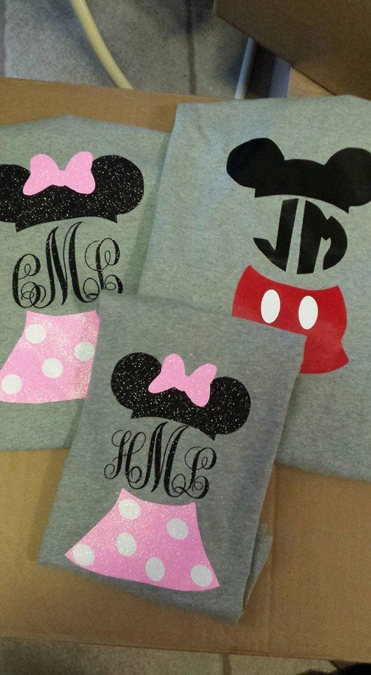 Inspired by Disney matching shirts- Mickey mouse & Minnie mouse shirts by LanesMomma on Etsy