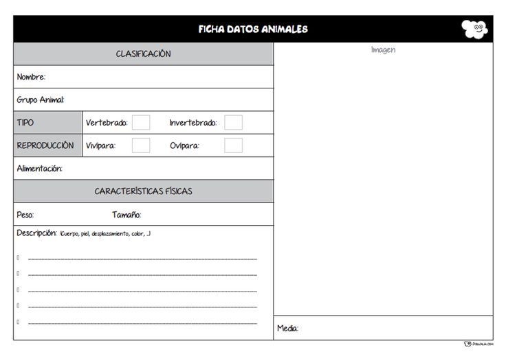 Ficha registro de datos de animales