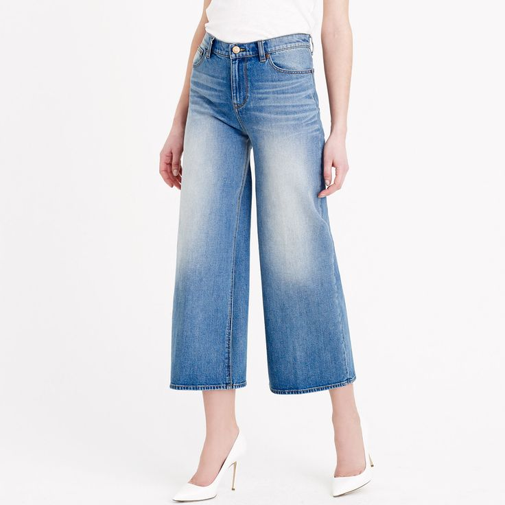 Rayner wide-leg jean in crescent wash : Cropped | J.Crew