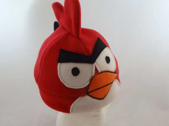 Fleece Red Angry Bird Hat by MeMosEmporium on Etsy