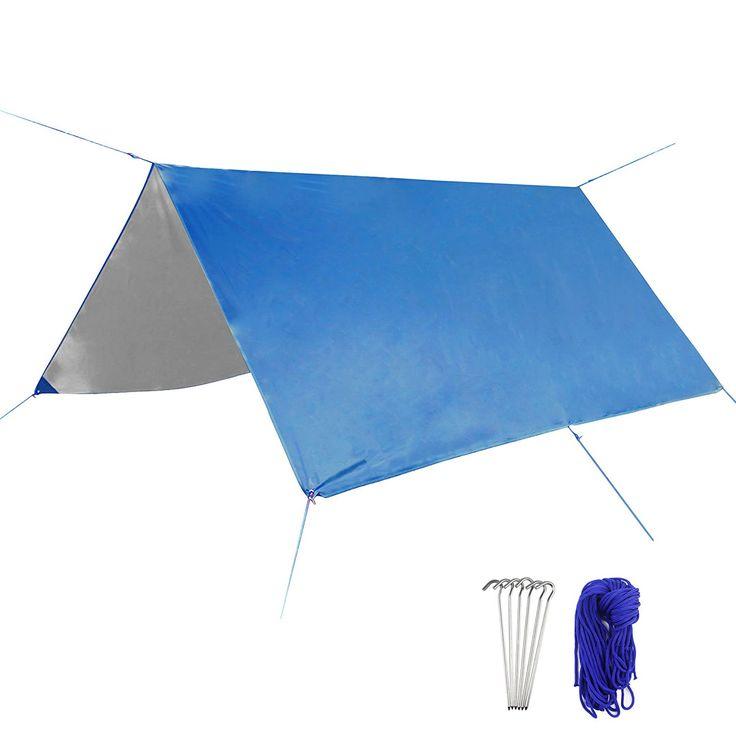 Goodlucky365 10 x 10 FT Outdoor Rain Tarp Waterproof Sunproof Camping Tarp Shelter Tent Tarp Ripstop Hammock Tarp Rain Fly Footprint Groundsheet Blanket Mat >>> Continue to the product at the image link.
