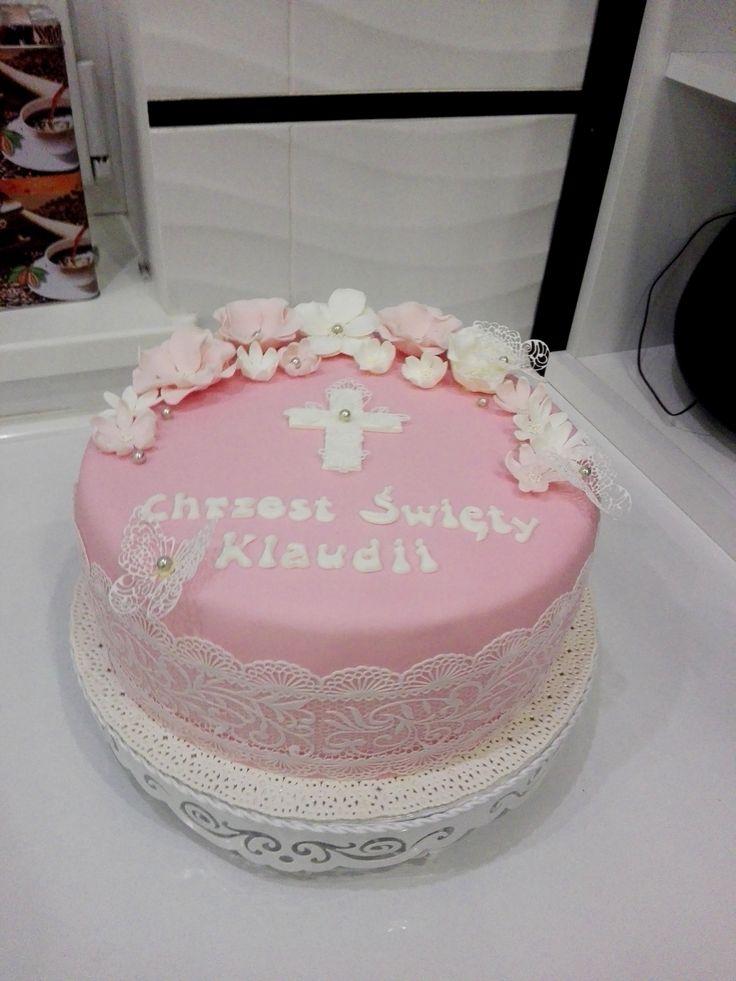 tort na chrzest koronka